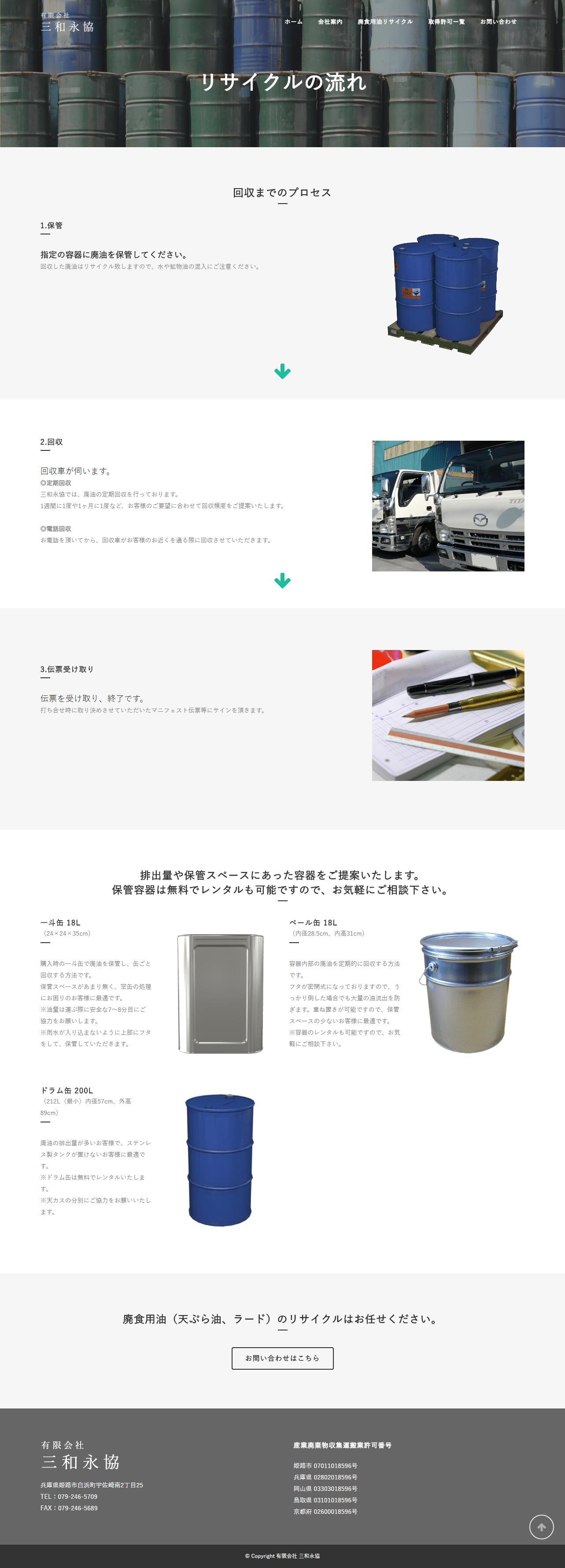 姫路市 有限会社三和永協様 ホームページ制作2